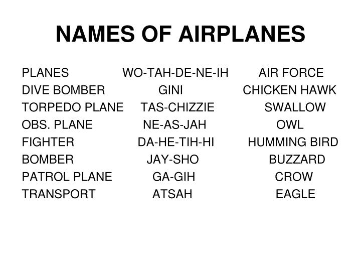 NAMES OF AIRPLANES
