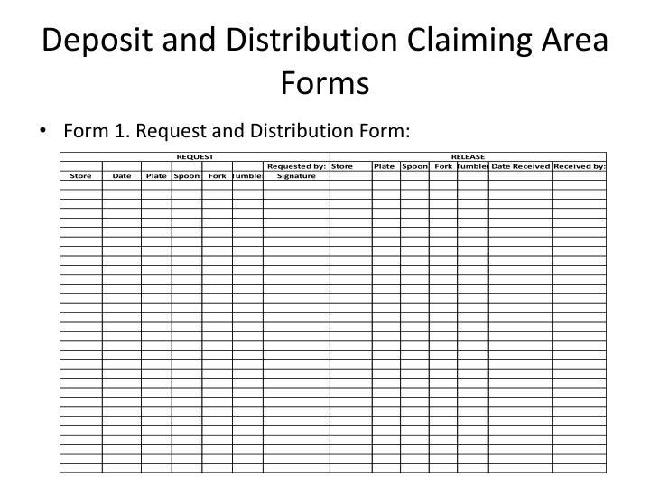 Deposit and Distribution Claiming Area Forms