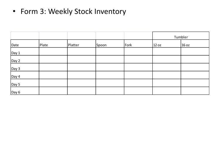 Form 3: Weekly Stock Inventory