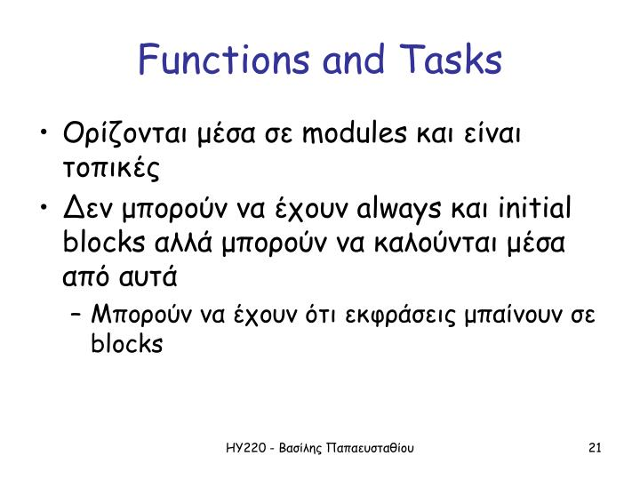 Functions and Tasks