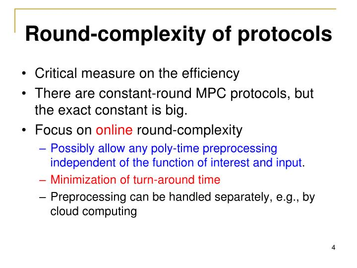 Round-complexity of protocols