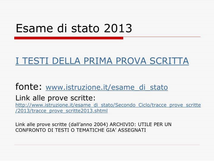 Esame di stato 2013