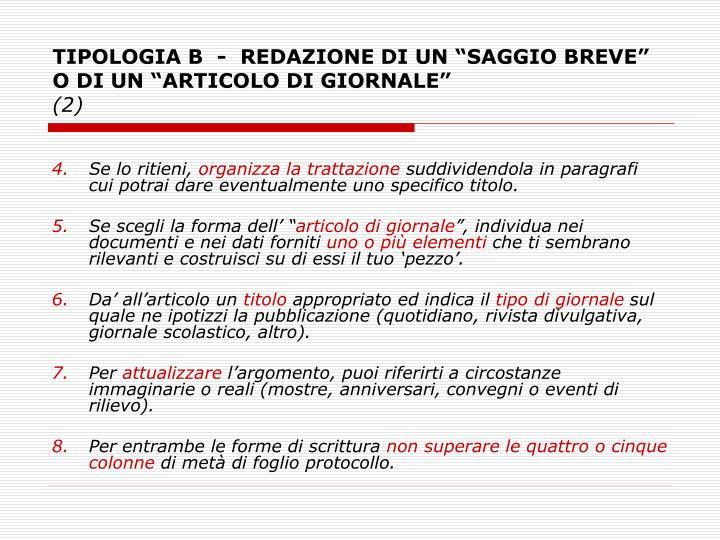 """TIPOLOGIA B - REDAZIONE DI UN """"SAGGIO BREVE"""" O DI UN """"ARTICOLO DI GIORNALE"""""""