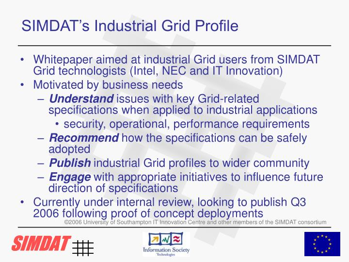 SIMDAT's Industrial Grid Profile