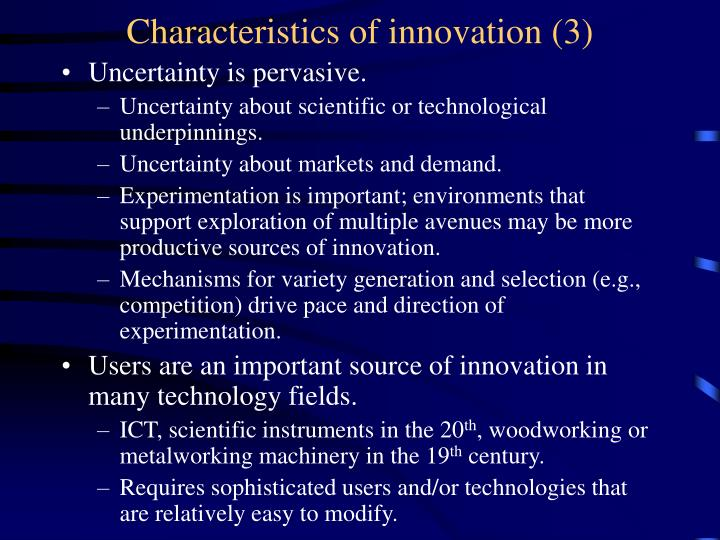 Characteristics of innovation (3)