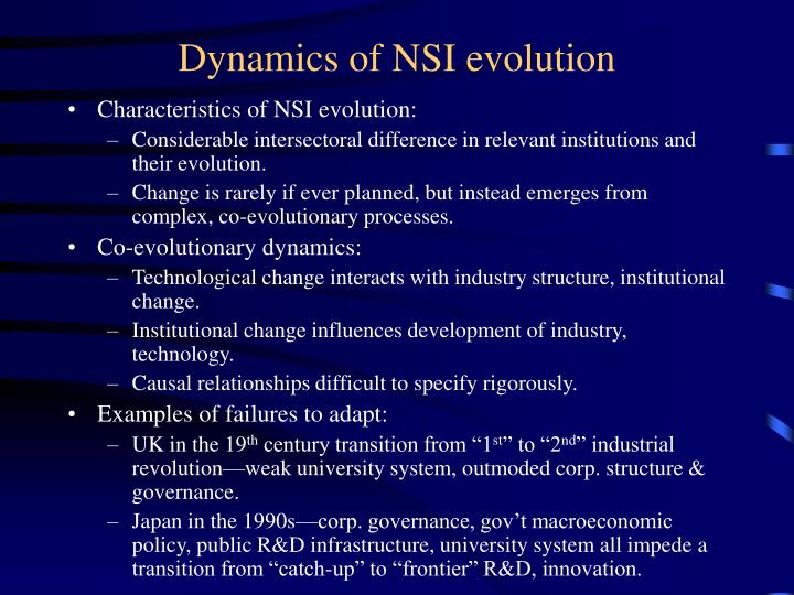 Dynamics of NSI evolution