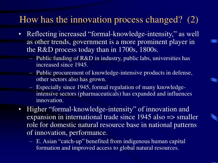 How has the innovation process changed?  (2)