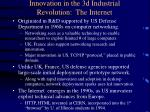 innovation in the 3d industrial revolution the internet