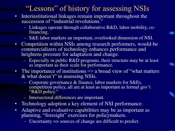 """Lessons"" of history for assessing NSIs"