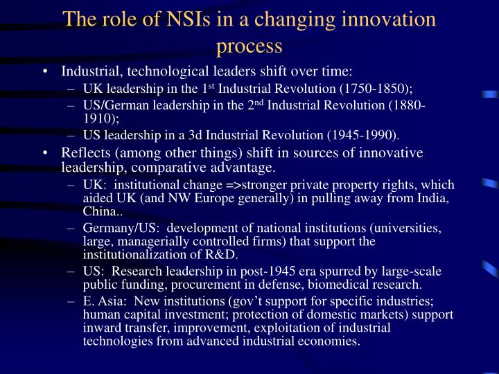 The role of NSIs in a changing innovation process