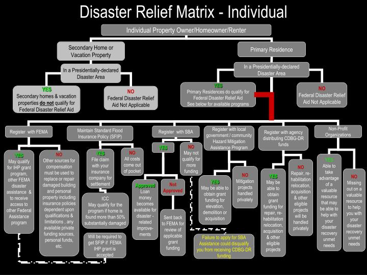 Disaster relief matrix individual