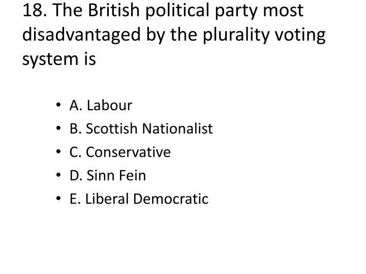 18. The British political party most disadvantaged by the