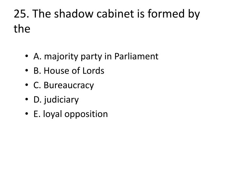 25. The shadow cabinet is formed by the