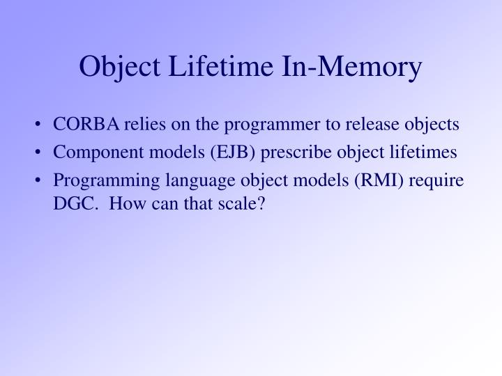 Object Lifetime In-Memory