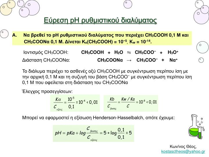 Εύρεση pH ρυθμιστικού διαλύματος