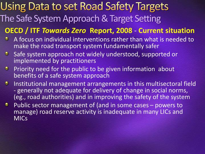 Using Data to set Road Safety