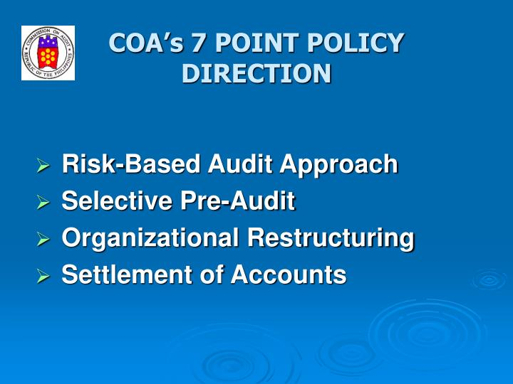 Coa s 7 point policy direction