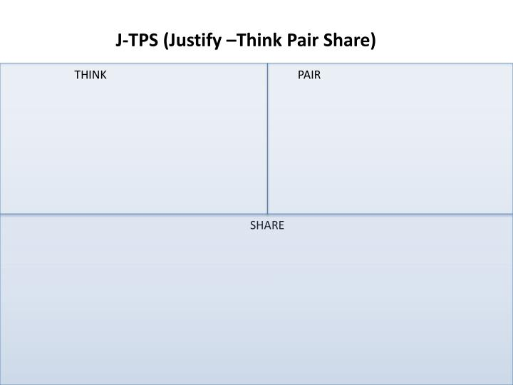 J-TPS (Justify –Think Pair Share)