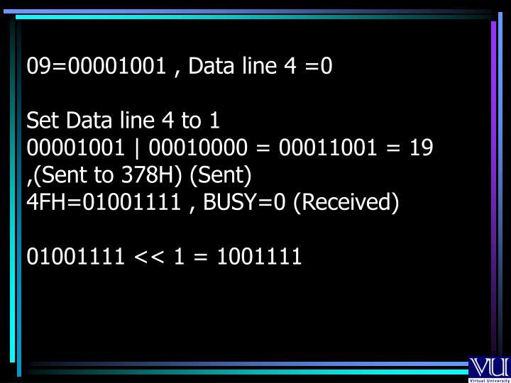 09=00001001 , Data line 4 =0