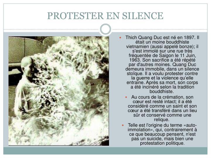 PROTESTER EN SILENCE