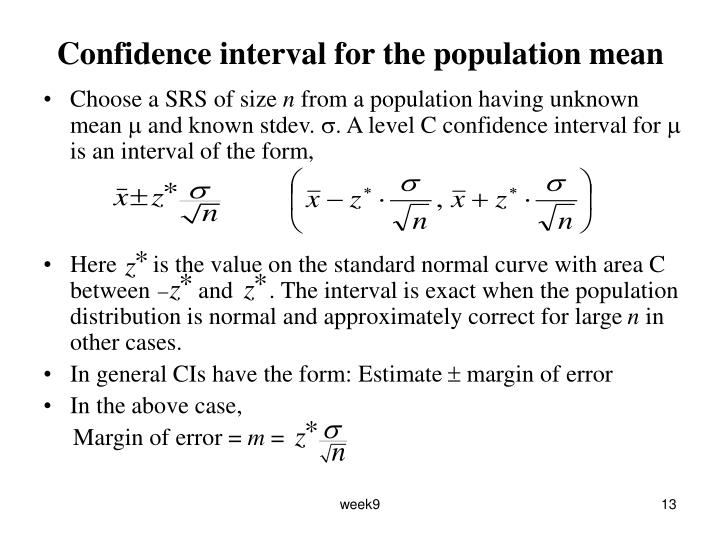 Confidence interval for the population mean