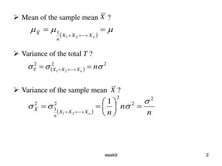 Mean of the sample mean     ?