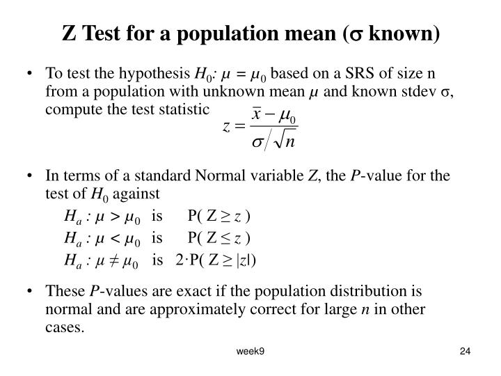 Z Test for a population mean (