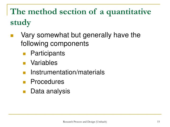 The method section of a quantitative study