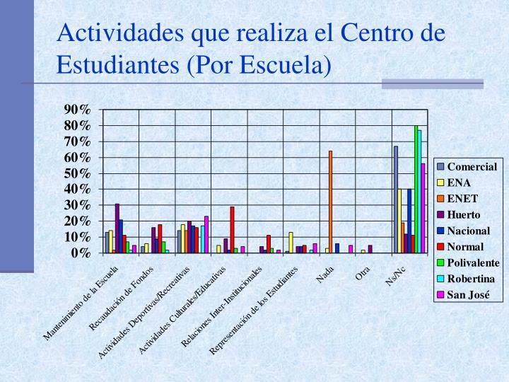 Actividades que realiza el Centro de Estudiantes (Por Escuela)