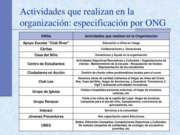Actividades que realizan en la organización: especificación por ONG