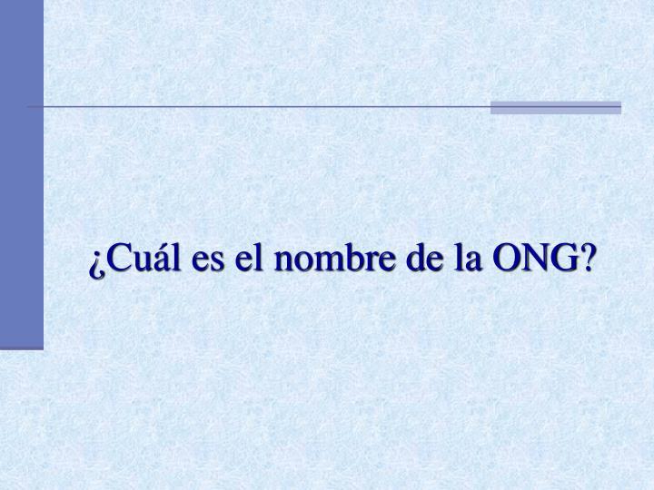 ¿Cuál es el nombre de la ONG?