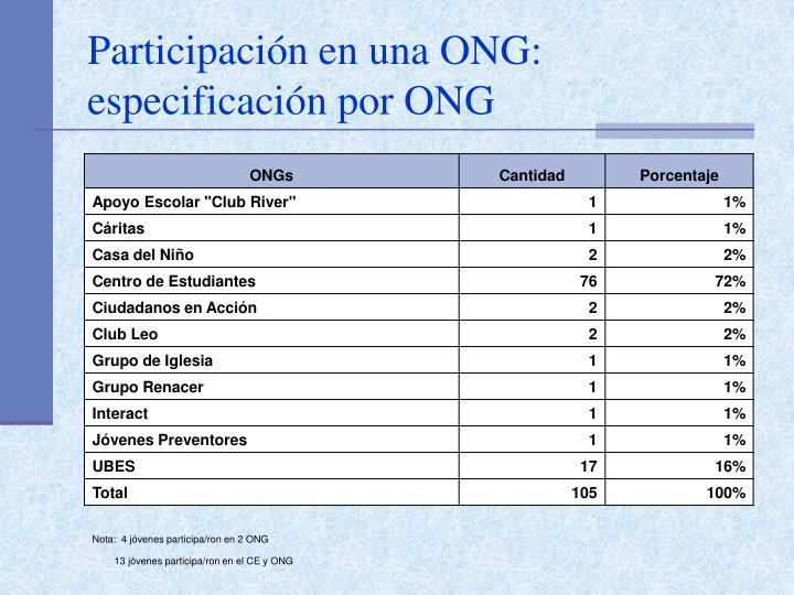 Participación en una ONG: especificación por ONG