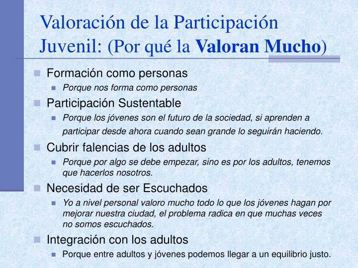 Valoración de la Participación Juvenil: