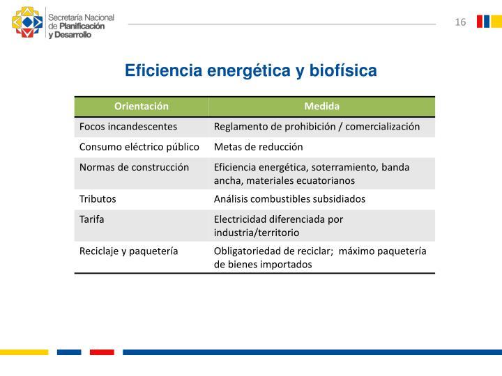 Eficiencia energética y biofísica