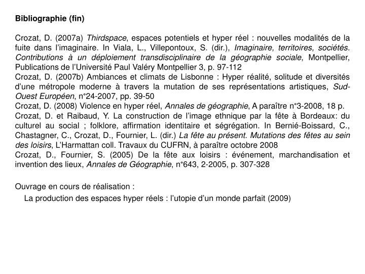 Bibliographie (fin)