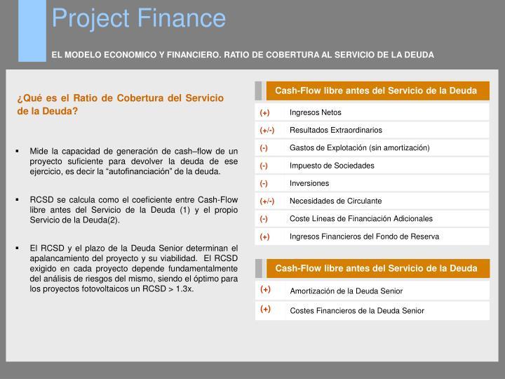 EL MODELO ECONOMICO Y FINANCIERO. RATIO DE COBERTURA AL SERVICIO DE LA DEUDA