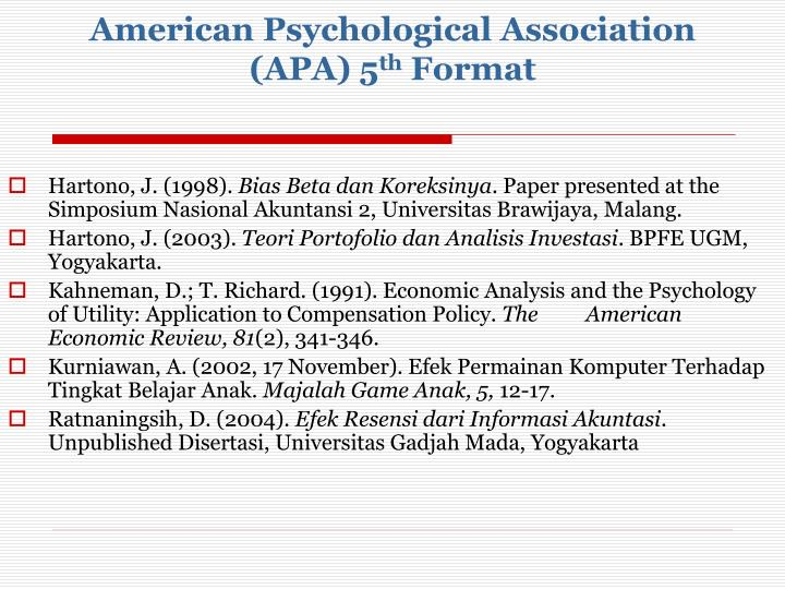 American Psychological Association (APA) 5