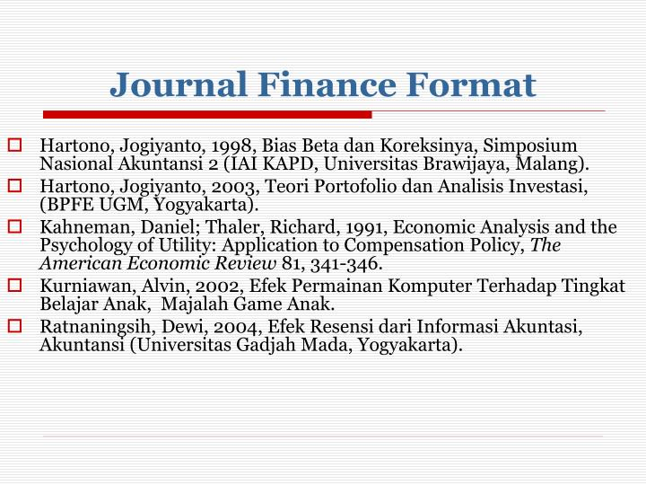Journal Finance Format