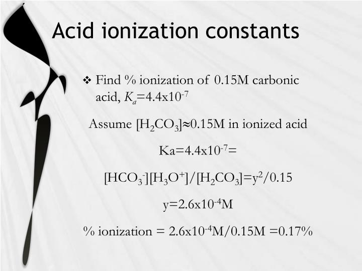 Acid ionization constants
