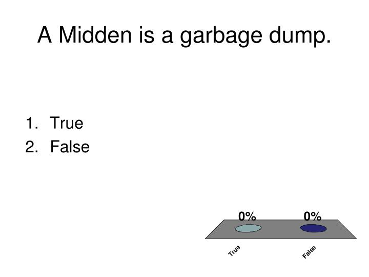 A Midden is a garbage dump.