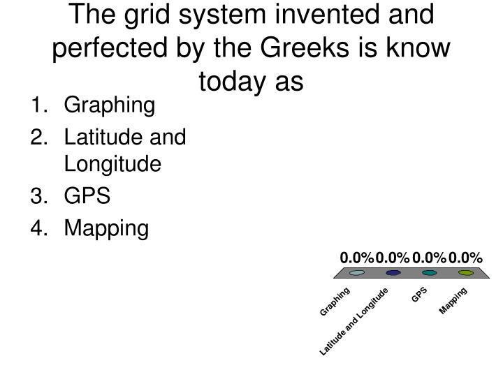 The grid system invented and perfected by the Greeks is know today as