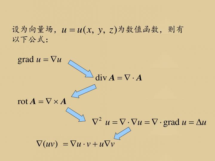 设为向量场,                        为数值函数,则有以下公式: