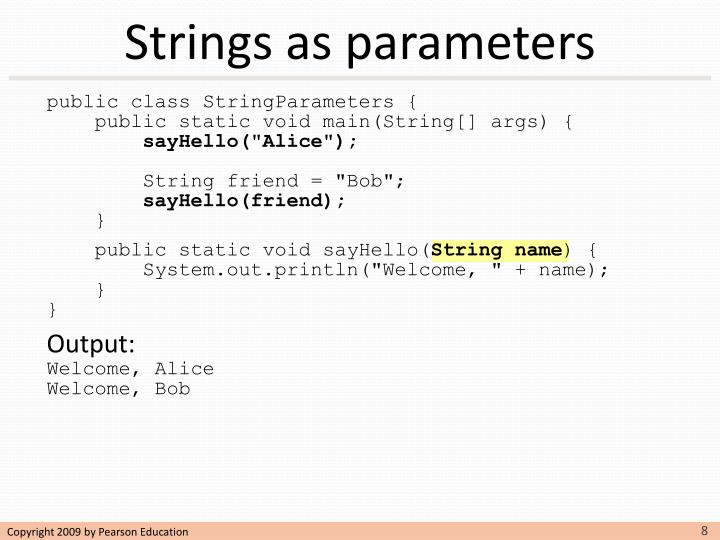 Strings as parameters