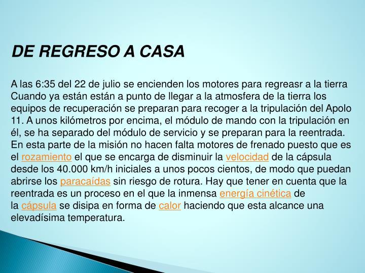 DE REGRESO A CASA