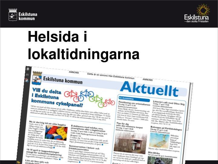 Helsida i lokaltidningarna