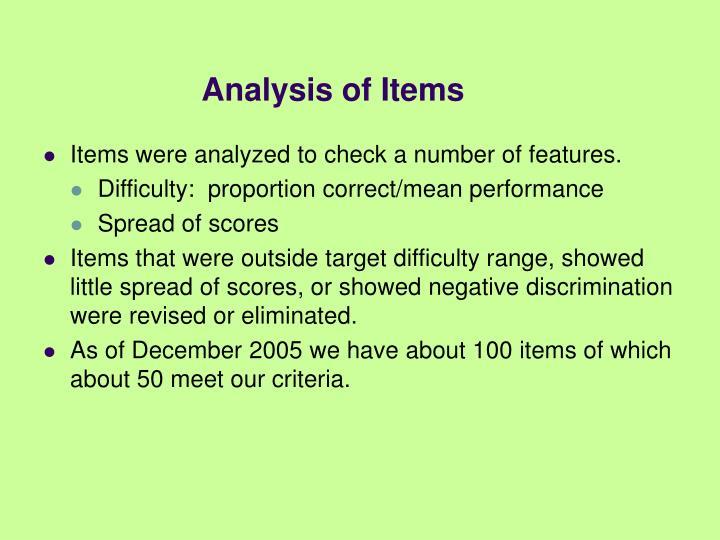 Analysis of Items