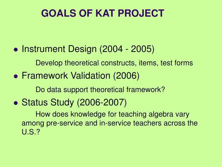 GOALS OF KAT PROJECT