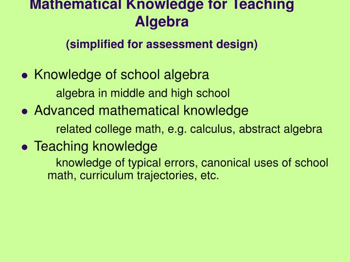 Mathematical Knowledge for Teaching Algebra