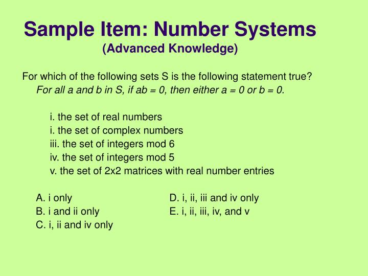 Sample Item: Number Systems