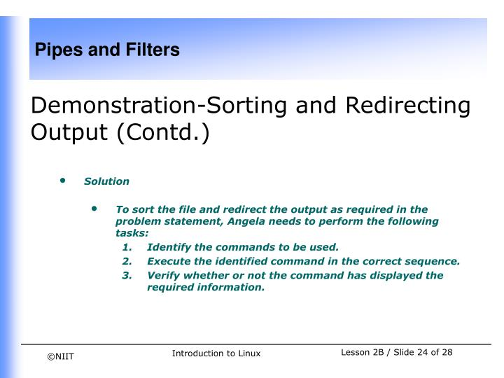 Demonstration-Sorting and Redirecting Output (Contd.)